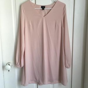 Pale pink short dress with peak-a-boo sleeves